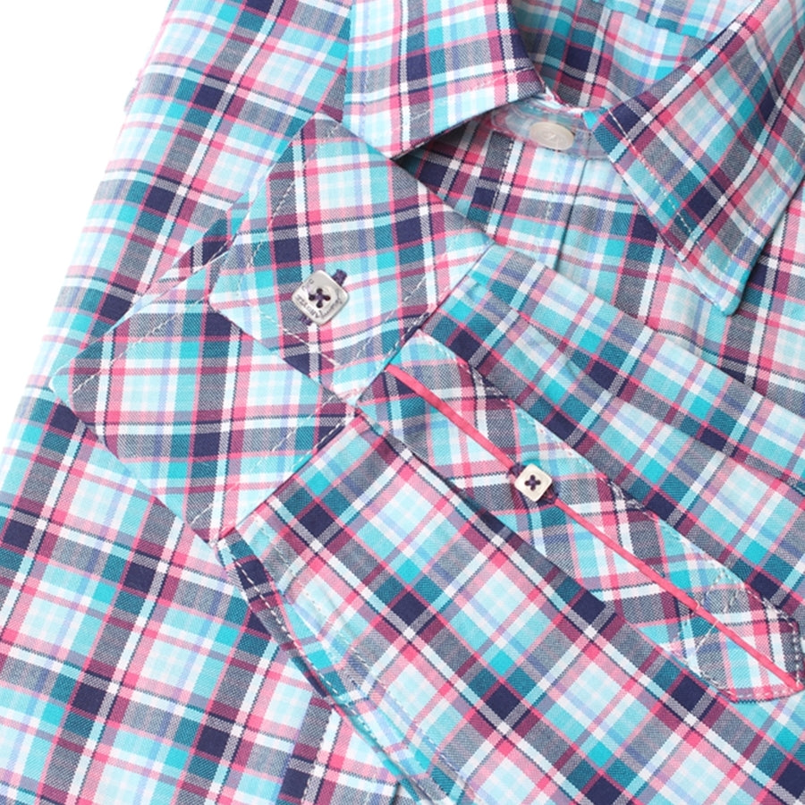Tompkins Turquoise, Pink and White Plaid