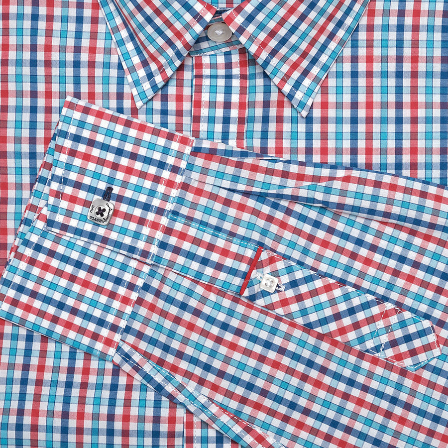 Collins Light Blue and Orange Check