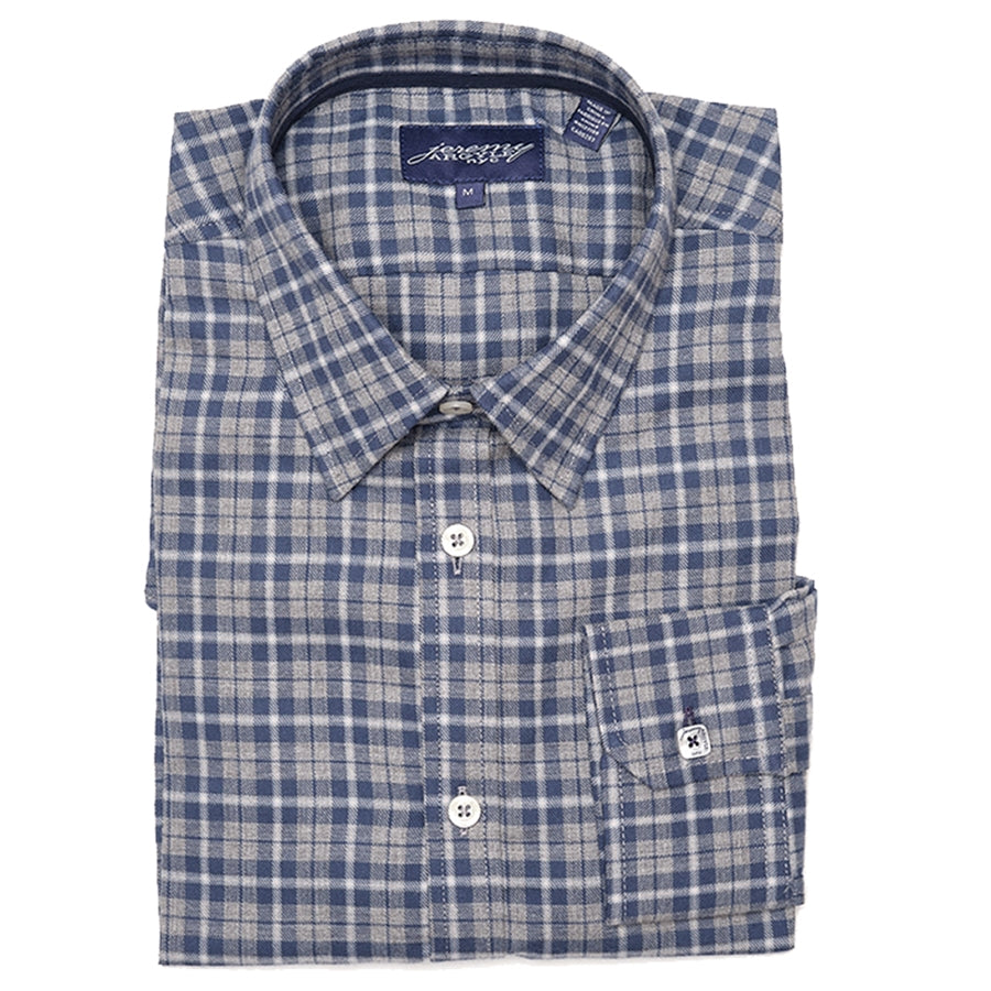 Vail Gray and Navy Brushed Cotton Flannel