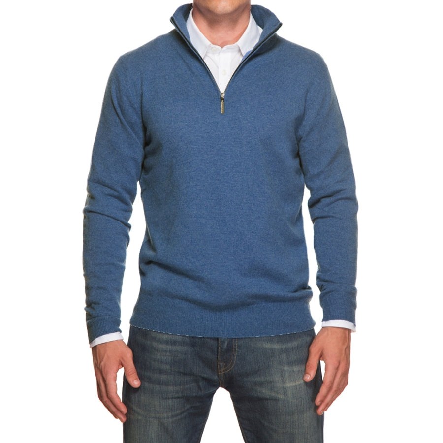 Heather Blue Merino Half Zip