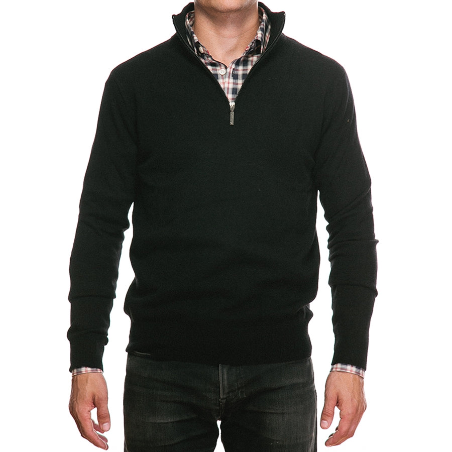 Black Merino Half Zip