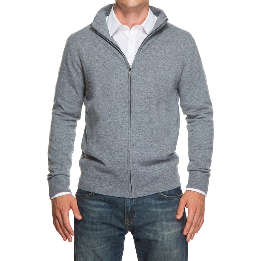 Light Gray Cashmere Full Zip