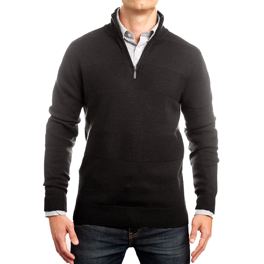 Charcoal Merino Half Zip with Textured Stripe