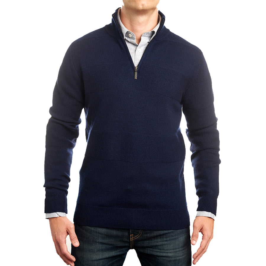 Navy Merino Half Zip with Textured Stripe