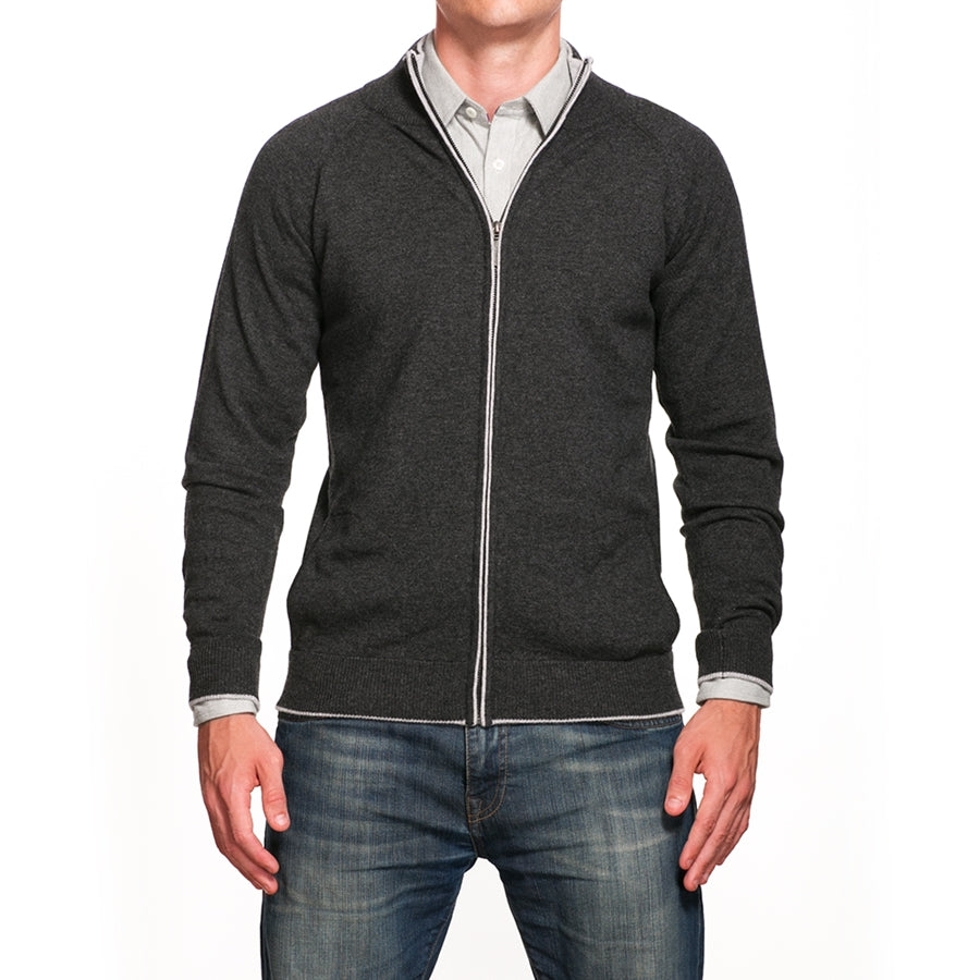 Charcoal Full Zip With Light Gray Detail