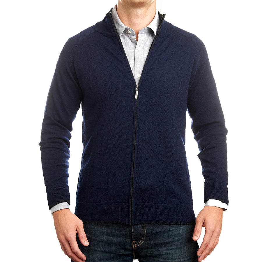 Navy Merino Full Zip