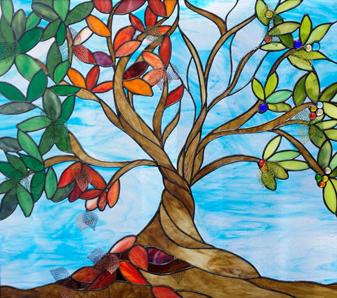Four Seasons Tree of Life stained glass window incorporates knit wire leaves designed and created by Jill Tarabar for JiSTdesigns