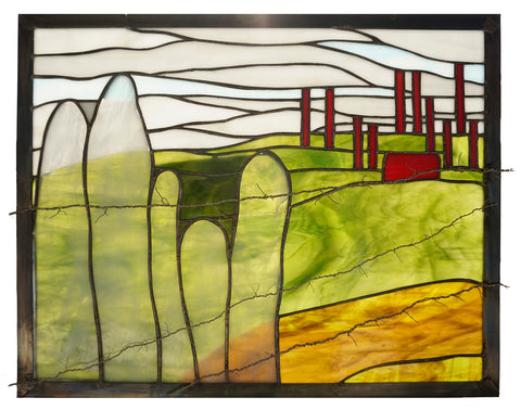 Never Forget stained glass window inspired by pilgrimage to Poland and concentration camps designed by Jill Tarabar for JiSTdesigns