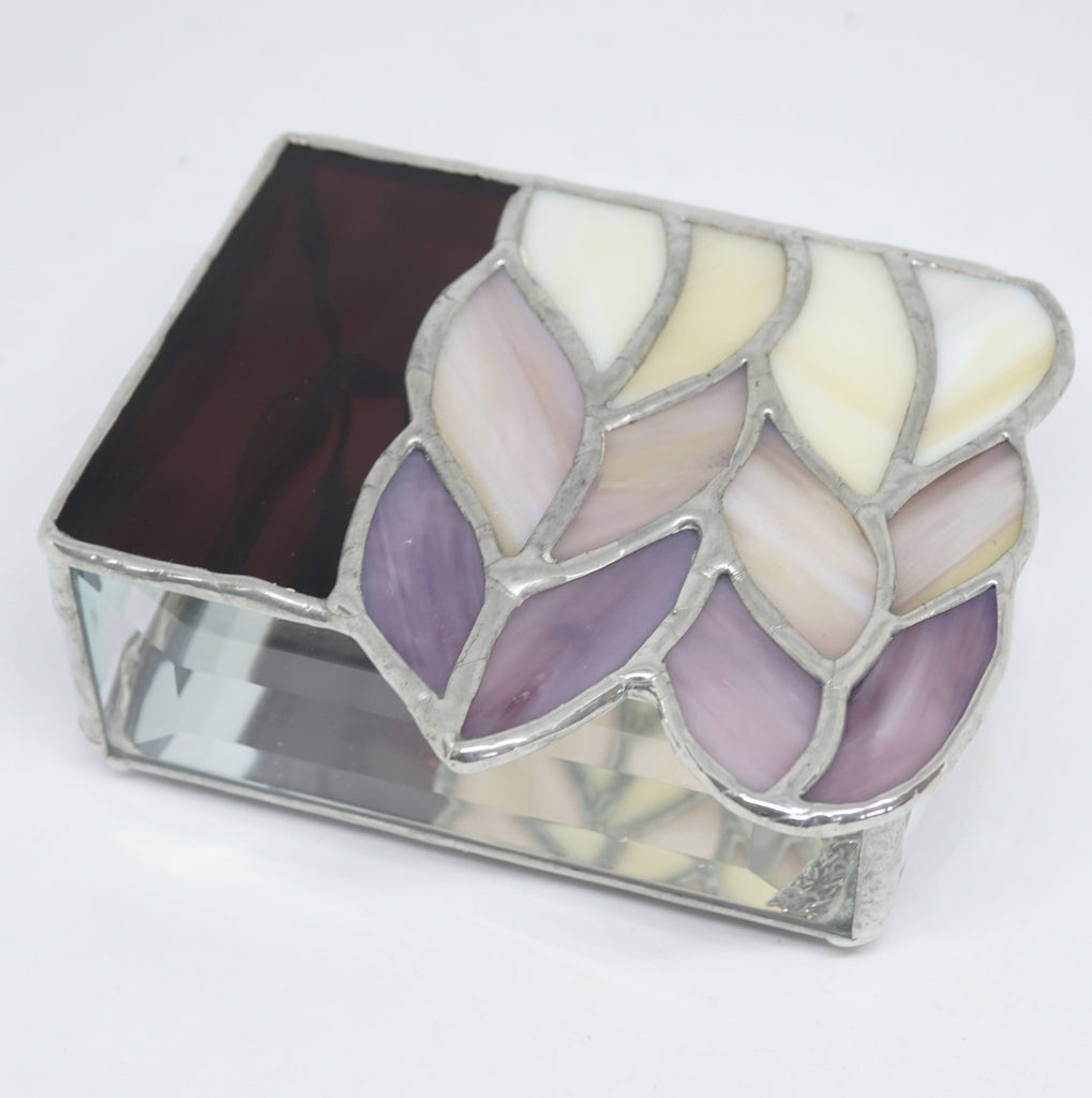 Plum and Amber Stained Glass Trinket Box with 6 Knit stitches