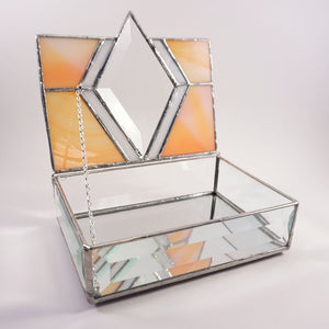 Orange Diamond Stained Glass Jewelry or Trinket Box