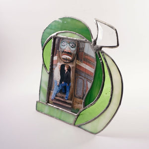 "Earthy Green Stained glass Table Top photo frame 3.5"" x 5"""