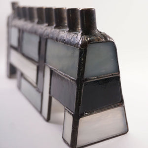 Black, White and Gray Woven-look Stained Glass Chanukah Menorah