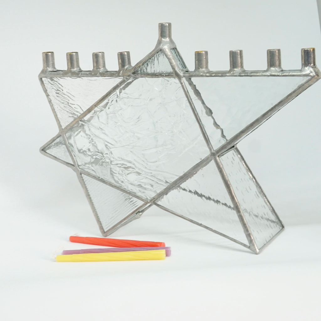 Clear Texture Star of David Stained Glass Chanukah Menorah