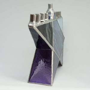 Purple Star of David Stained Glass Chanukah Menorah