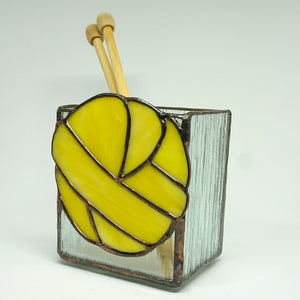 Stained Glass Yellow Yarn Fiber Tool Vase