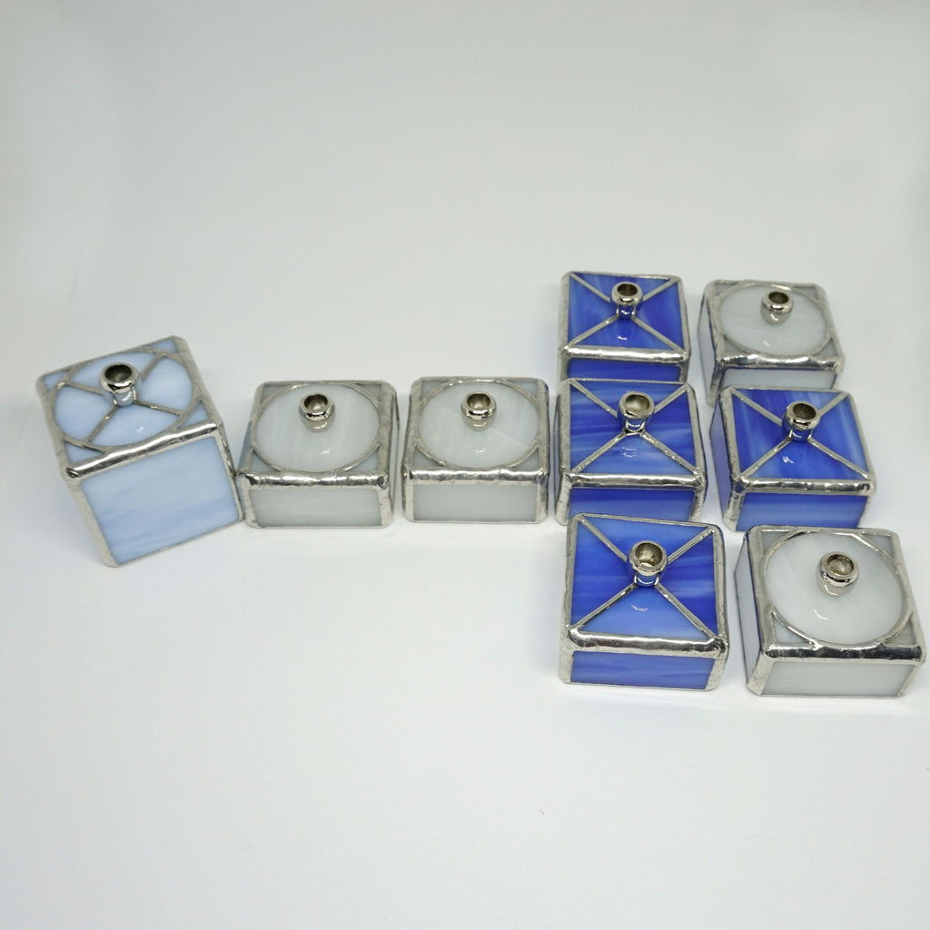 Tic Tac Toe Stained Glass Hanukkah Menorah