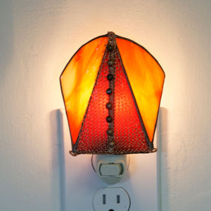 Red Orange and Copper Stained Glass Night light