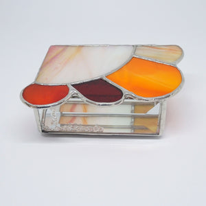 Red Orange Contemporary Stained Glass Jewelry Box