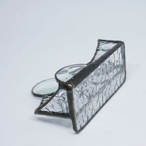Clear Texture Stained Glass Business Card Holder with Circle Bevels