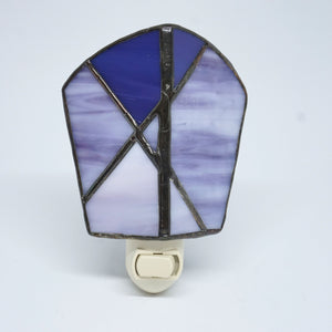 Purple Stained Glass Abstract Design Electric Night Light