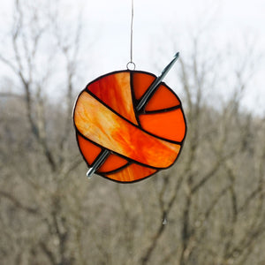 Orange Red Ombre Stained Glass Ball of Yarn Crochet Sun Catcher