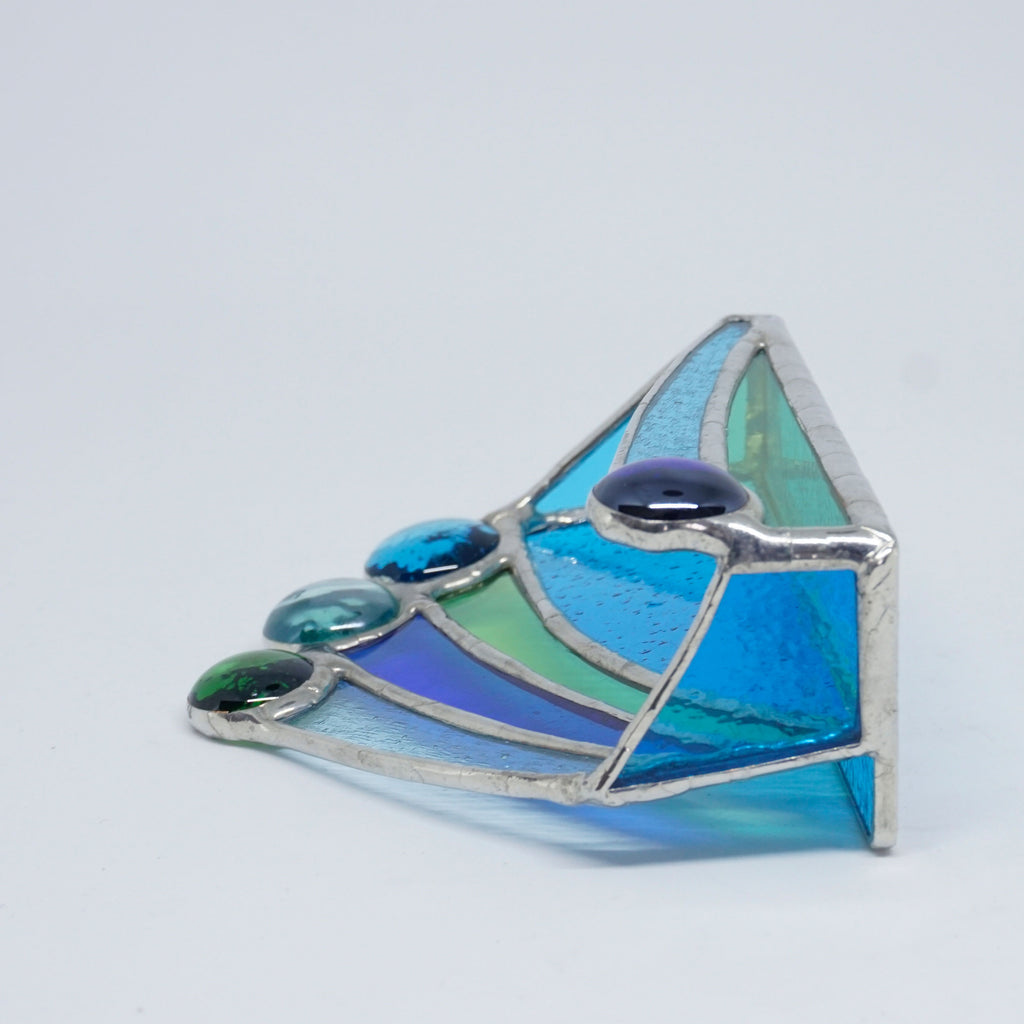 Blue, Aqua and Green Abstract Stained Glass Business Card Holder