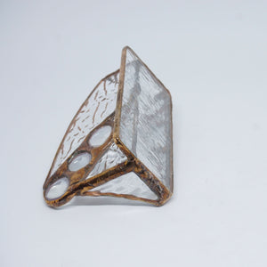 Clear Texture Stained Glass Business Card Holder with copper tone