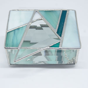 Teal Turquoise Stained Glass Jewelry Box