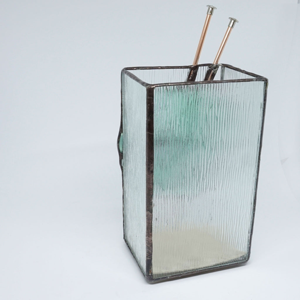 Teal Ombre Stained Glass Knitting Needle Vase