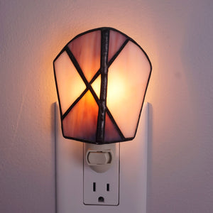 Plum Stained Glass Electric Night Light