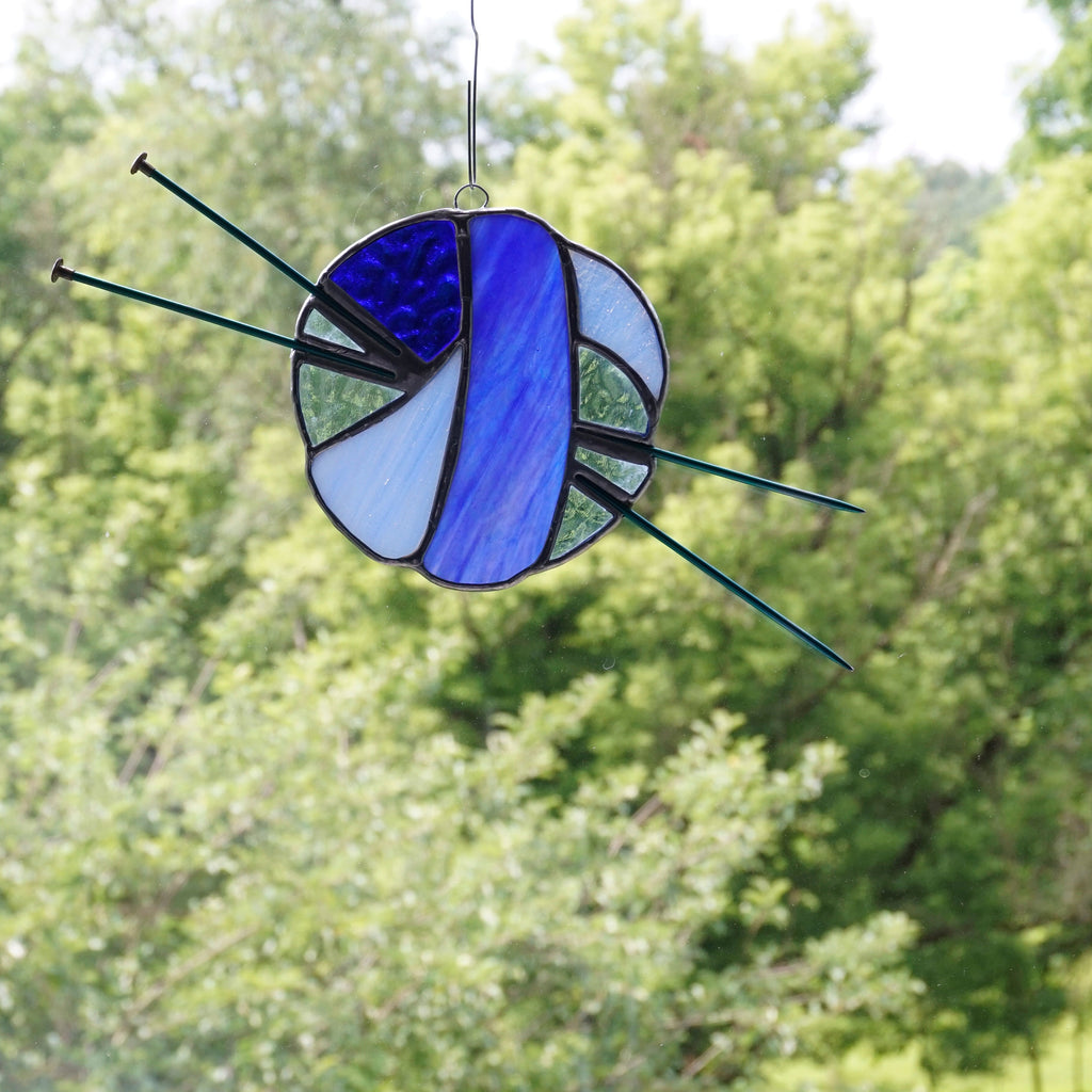 Cobalt Blue Stained Glass Ball of Yarn Sun Catcher