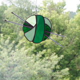 Kelly Green Stained Glass Ball of Yarn Sun Catcher