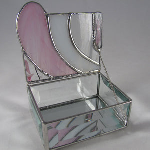 Pretty Pink Stained Glass Jewelry  or Trinket Box