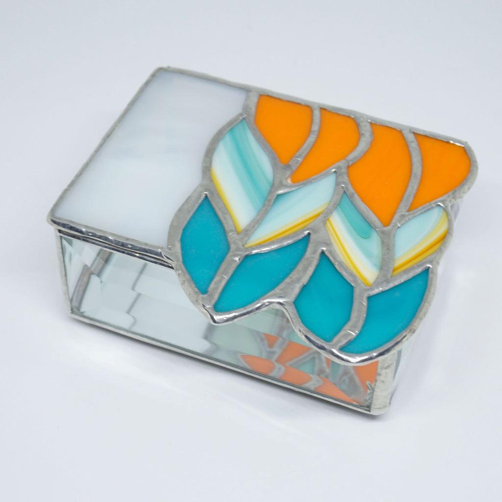 Stained Glass Ombre Knit Stitch Trinket Box