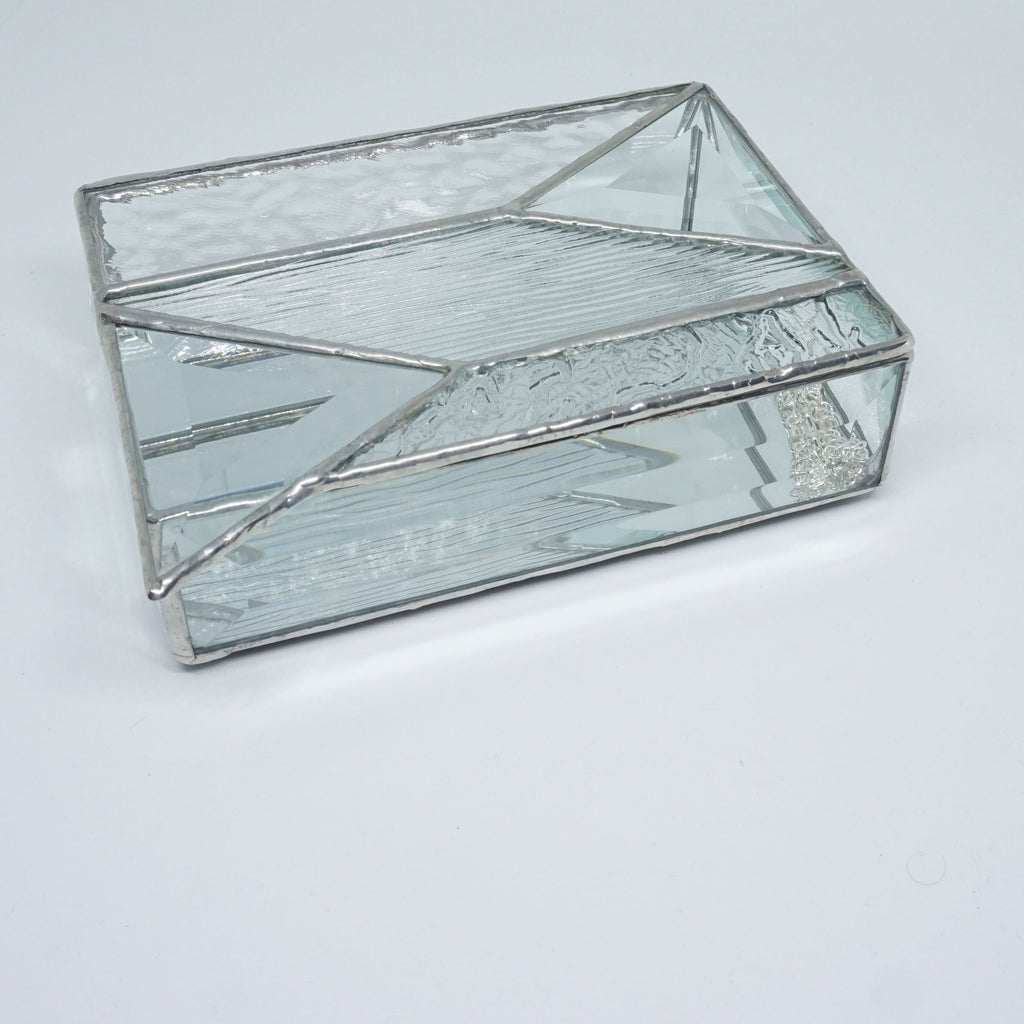 Clear Texture Stained Glass jewelry or trinket box with Triangle Clear Glass Bevels