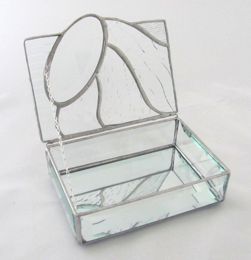 Clear Texture Stained Glass Jewelry or Trinket Box