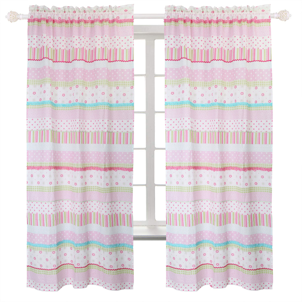 "Pink Greta Pastel Stripe Polka Dot Window Curtain Panel Set of 2, (42""x84"" inch or 42""x63"" inch Long) by Cozy Line Home Fashions"