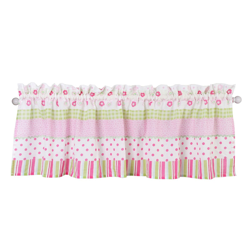 "Pink Greta Pastel Stripe Polka Dot Window Valance (54""x15"" inch) by Cozy Line Home Fashions"
