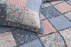 Mraz Blue&Red Real Patchwork Cotton 3-Piece Quilt Set