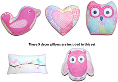 Pink Owl Quilt Set With Decorative Pillows