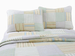 Spa Striped Patchwork 100% Cotton Quilt Set