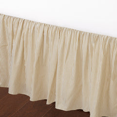 "Farmhouse Ticking Cream Caramel Cotton Striped Ruffled Bed Skirt Dust Ruffle, Tailored 16"" Drop"