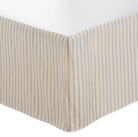 Farmhouse Ticking Ivory Cream Off White Taupe Cotton Striped Ruffled Bed Skirt Dust Ruffle