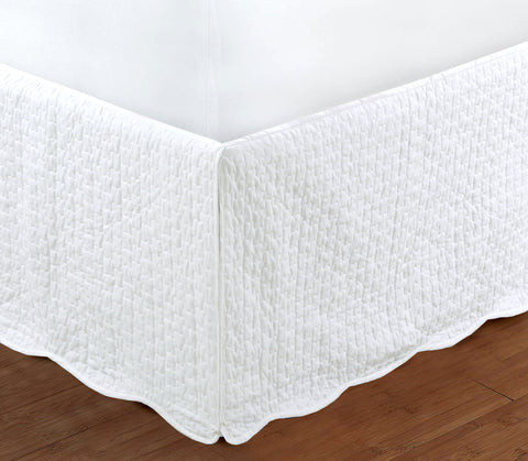 "White Quilted Bed Skirt Dust Ruffle Matelasse Tailored 16"" Drop"