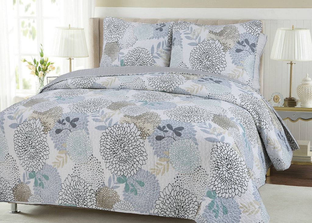 Nina Floral Reversible Cotton Quilt Set