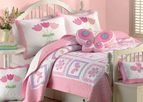Butterfly Flower 100% Cotton Twin-size Quilt Set