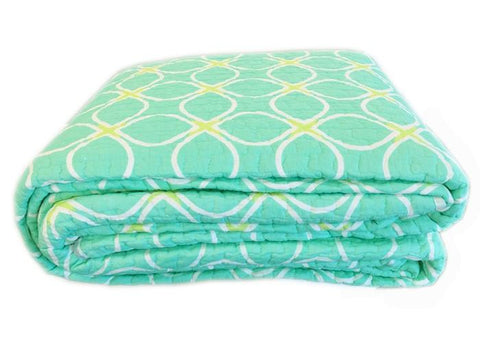 Aria Green Reversible Cotton Quilt Set