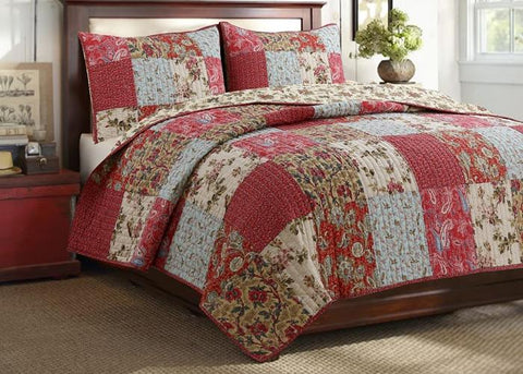Adeline Patchwork Reversible Cotton Quilt Set