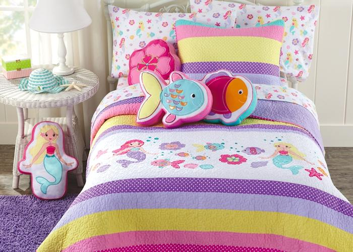Lilah Mermaid Embroidered Cotton Quilt Set