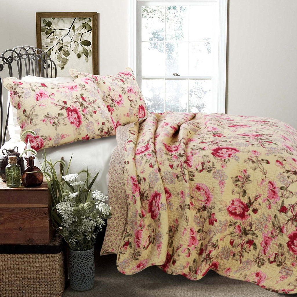 Lelia Pink 100% Cotton 3-piece Quilt Set